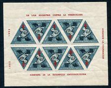 ERINNOPHILIE / ARGENTINA / ARGENTINE BLOC 10 TIMBRES CONTRE LA TUBERCULOSE 1963