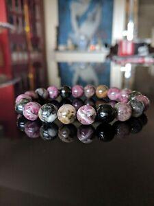 "Genuine Multicolor Tourmaline bead bracelet MEN Stretch AAA 10mm - 8"" inch"