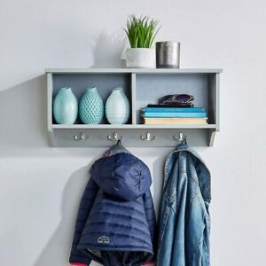 Grey Wall Mounted Coat Rack Wooden Storage Unit Shelf Hooks Stand Hat Scarf