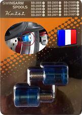 2 Diabolos anodisés Bleus pour béquille stand atelier Yamaha Aprilia Triumph