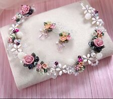 Bridesmaid Bridal Flower Rose Pearl Multicolour Tiara Necklace With Earrings