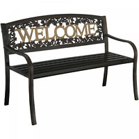 Outdoor Metal Patio Porch Backyard Park Deck Welcome Bench Seat Chair Black Gold