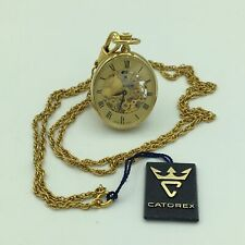 CCatorex Swiss Gold Plate Open Face Ladies Pendant Pocket Watch W/14 Inch Chain