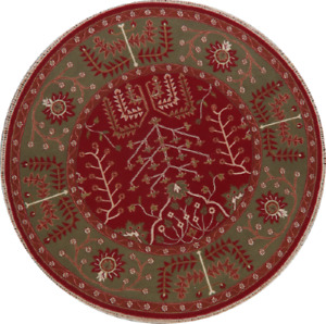 Geometric RED/GREEN Reversible 8 ft Round Kazak Indian Rug Hand-Knotted Kitchen