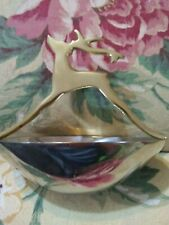 "OVAL CHROME-LIKE SERVING BOWL 6"" x 4 1/4"" WITH A BRASS HANDLE WITH A DEER (BUCK)"