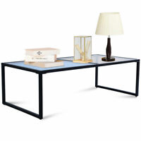 Rectangular Coffee Table Tempered Glass Top Metal Frame Living Room Furniture