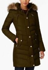 Michael Kors Jacket Coat Puffer Parka Hood Faux Fur Trim Down Chocolate M $330