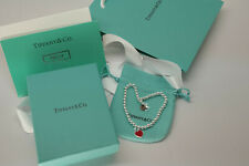 """Return to Tiffany & Co. Heart Tag Bracelet Charm 925 Sterling Silver Red 7.25"""""""