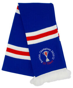 Rangers Champions Embroidered Royal Blue, Red, and White Retro Striped Scarf