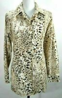 Chicos Womens Size 1 Medium Blouse Long Sleeve Animal Print Button Front Cotton