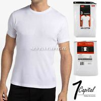3 6 PCs Mens 100% Cotton White Tagless Tee Round Neck T-Shirt Undershirt S-XL