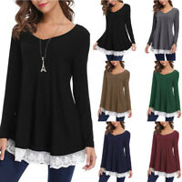 Ladies Fasshion Women Casual Long V-Neck Sleeve Loose Lace Tops Tunic Blouse
