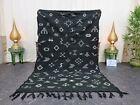 "Moroccan Handmade Kilim Zanafi Rug 4'7""x7'5"" Berber Abstract Black White Carpet"