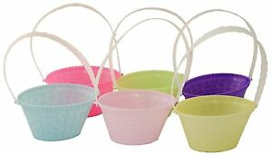 """6 Mini Easter Egg Hunt Baskets With Handles 4"""" Buckets Decoration Craft School"""