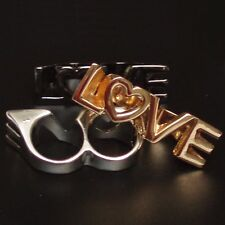 Ring LOVE LIEBE Doppelring massiv VINTAGE Doppel Zweifingerring gold-farbig