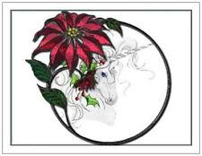 20 CHRISTMAS Believe UNICORN Pointsettia Greeting Flat CARDS Envelopes Seals