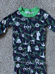 HANNA ANDERSSON STAR WARS CHRISTMAS holiday 2-piece pajama PJ size 90 3T EUC