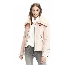 NWT Banana Republic Faux Shearling Warm Stone Pink Moto Bomber Coat Jacket S