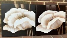 2 White Flowers Canvas Pictures