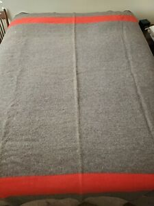 1940's Baron Woolen Mills Wool Blanket Gray w/ Red Black Stripes Brigham City Ut