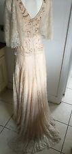 Vintage Style Wedding Dress, Size 10 - Lace W/ Bat Wing Sleeves, Blush Tones
