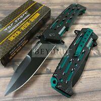 Tac-Force Black Plain Blade Green Tactical SPRING-ASSIST FOLDING POCKET KNIFE