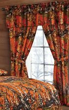 CAMO THE WOODS CURTAINS 5 PC SET AND VALANCE DRAPES NEW ORANGE WOODS