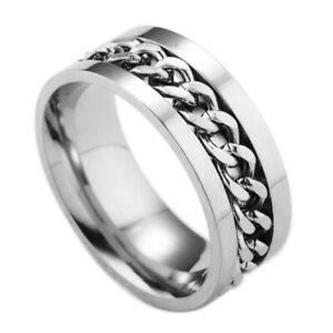 Men's Anxiety Spinner Ring Stainless Steel Curb Chain Wedding Band, Comfort Fit