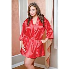 Sensual Plus Size Lingerie Luxurious 3/4 Sleeve Long Satin Robe Adult Women 3xl Red