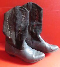 Westernstiefel Leder dunkelblau dunkelgrau schwarz ~90er Vintage Gr.37 Nr.17