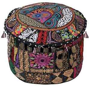 """Black 22"""" inch Handmade Round Pouf Cover Indian Cotton Patchwork Floor Decorate"""