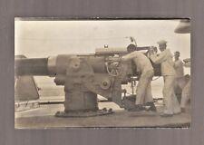 Vintage RPPC  USA Navy Ship Sailor Large Gun Real Photo Postcard America antique