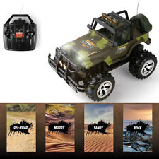 1/16 RC Car Remote Control Army Green Jeep Off-Road Vehicle Light Sound Kids Toy