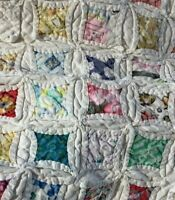 Vintage Cotton Handcrafted Geometric Pattern Quilt Bedspread Coverlet