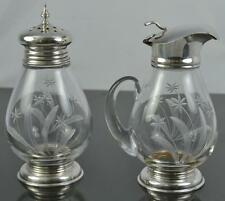 Frank M Whiting Sterling Silver & Glass Shaker & Syrup Pitcher w/ Etched Flowers