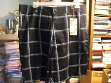 OP Woven  FF  Black Plaid Mens Shorts Size 42 Ocean Pacific