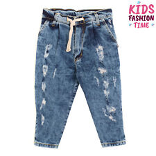 Kate London Denim Trousers Size 4Y Ripped Stonewashed Made in Italy