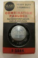 Vintage-New! SEARS COMBINATION PADLOCK by National Lock, Co. Rockford, Illinois