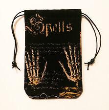 "Hands of Spells - Lined Tarot Bag 5""x7"" Drawstring Runes Pendulum Crystals Dice"