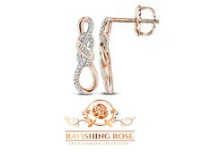 10K Rose Gold White Diamond Stunning Infinity Design Baguette Earrings .22 Ct