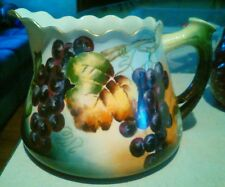 Limoges hand painted cider pitcher signed Edith Reeves c1900-20