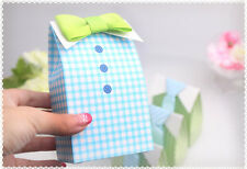 25pc Baby Shower Gift Favor Boxes My Little Man 3D Green Bow Tie Shirt Candy Box