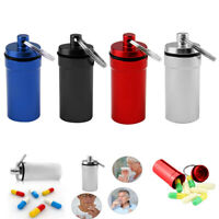 4x Mini Waterproof Metal Medicine Pill Box Case Bottle Holder Container Keychain