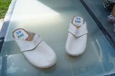 original Sweden orthopedic Damen Sommer Schuhe Sandale Clogs Gr.39 Leder weiß#2k