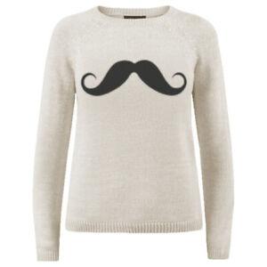 Women Knit Moustache Sweater Pullover Jumper Modern Plain Acrylic Cotton S M L