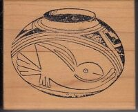 """aztec pot artist stamps Wood Mounted Rubber Stamp 2 1/4 x 2""""  Free Shipping"""