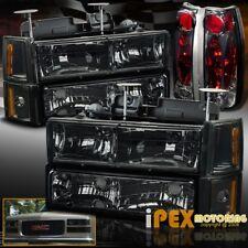 (10-Piece) 94-98 GMC Sierra Yukon Smoke Headlights + Bumper + Smoke Tail Lights