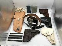 Vintage East German Military Holsters, Belts, and Weapon Parts 10 Piece Group