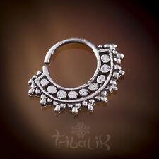 SILVER Trago Setto Anello d'argento afgani conchiglia gioielli. comoda Piercing (codice 23)