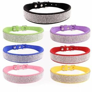 Dog Collar Cat Rhinestone Accessory Pet Supply Solid Personalized Black Tag New